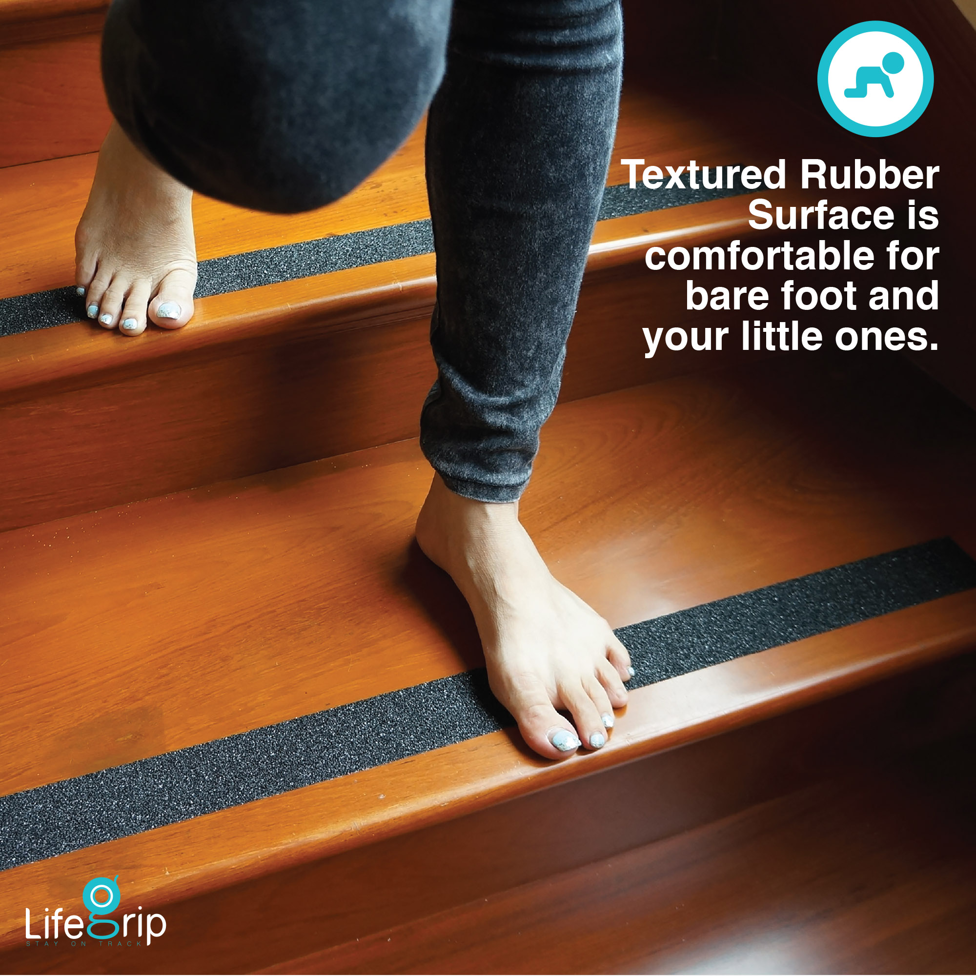 Textured Rubber Surface Black 1 X 15 Non Slip Stair Tread LifeGrip Anti Slip Safety Tape Comfortable for Bare Foot